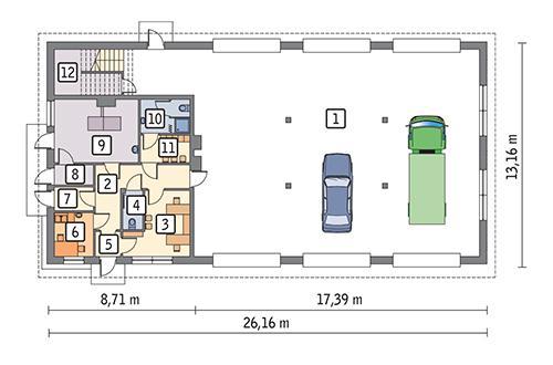 Rzut parteru POW. 296,5 m²