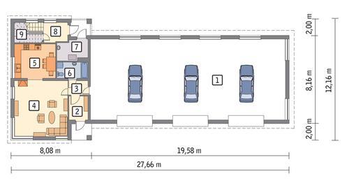 Rzut parteru POW. 222,6 m²
