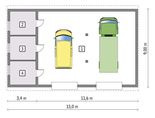Rzut parteru POW. 119,8 m²