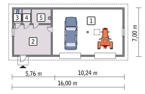Rzut parteru POW. 96,7 m²