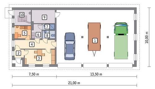 Rzut parteru POW. 174,9 m²