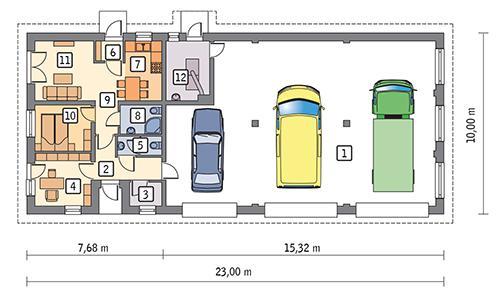 Rzut parteru POW. 187,6 m²