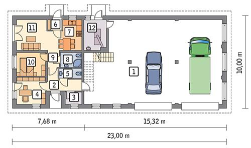Rzut parteru POW. 187,4 m²