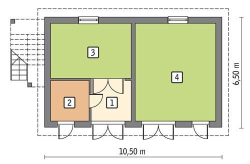 Rzut parteru POW. 54,3 m²