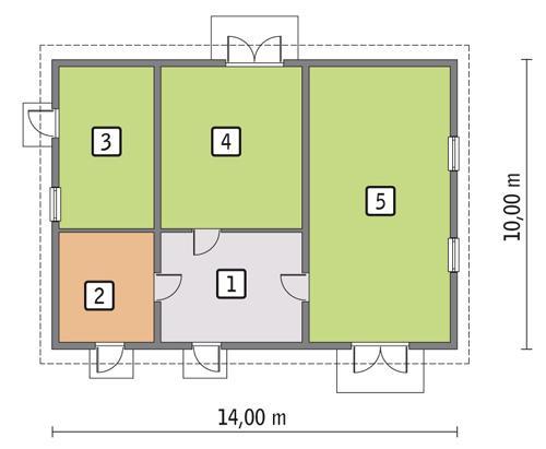 Rzut parteru POW. 123,1 m²