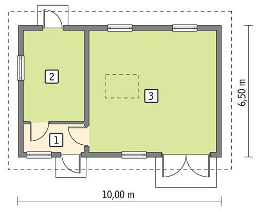 Rzut parteru POW. 54,8 m²