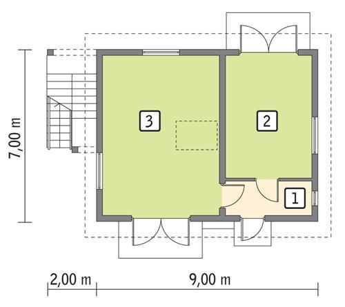Rzut parteru lustro POW. 52,8 m²