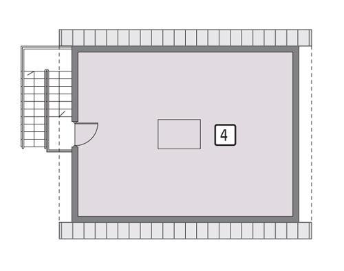 Rzut poddasza lustro POW. 53,6 m²