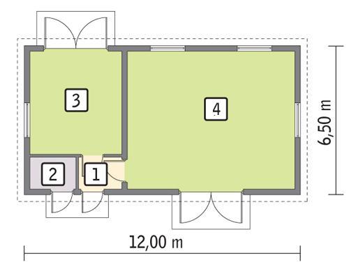 Rzut parteru POW. 66,4 m²