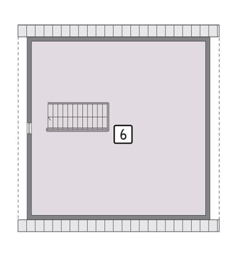 Rzut poddasza lustro POW. 85,5 m²