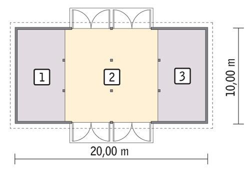 Rzut parteru POW. 185,0 m²