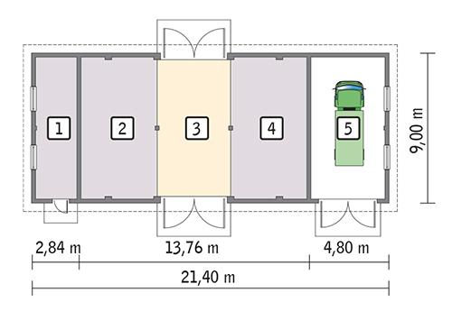 Rzut parteru POW. 172,9 m²