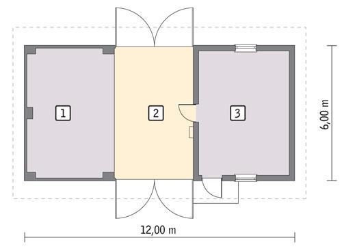 Rzut parteru POW. 64,1 m²