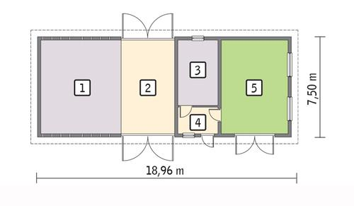 Rzut parteru POW. 124,7 m²