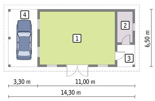 Rzut parteru POW. 56,9 m²