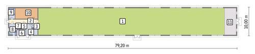 Rzut przyziemia POW. 716,8 m²