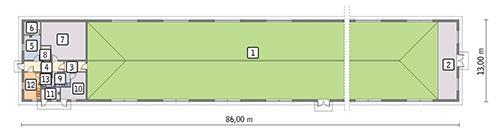 Rzut przyziemia POW. 1 031,8 m²