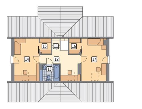 Rzut poddasza: II etap realizacji (45,2 m2 powierzchni użytkowej)