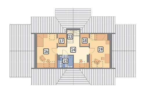Rzut poddasza: II etap realizacji (44,6 m2 powierzchni użytkowej)
