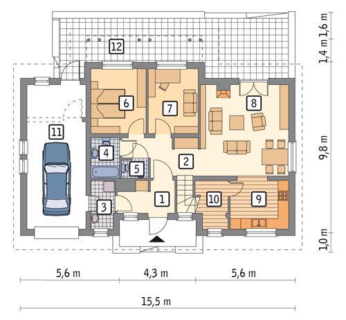 Rzut parteru POW. 110,2 m²