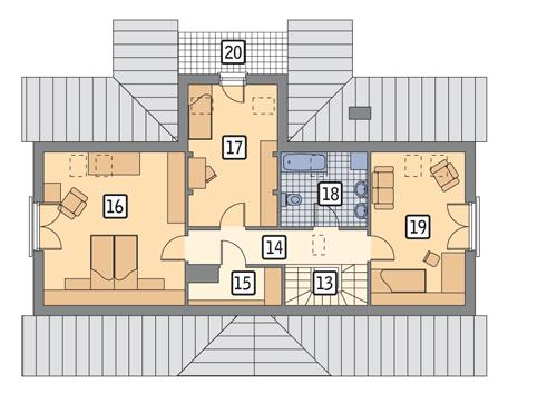 Rzut poddasza POW. 91,6 m²