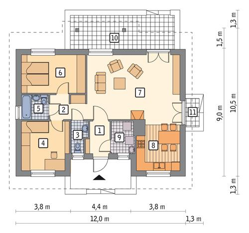Rzut parteru POW. 79,3 m²