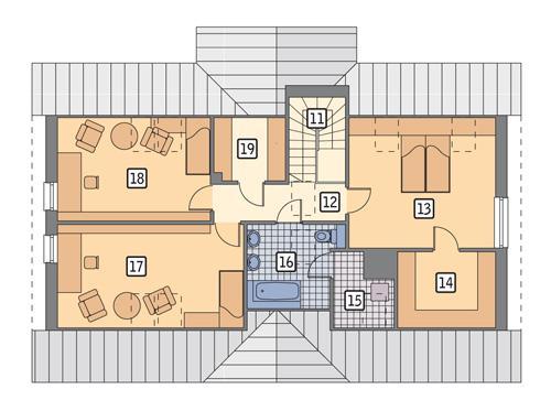 Rzut poddasza POW. 97,4 m²
