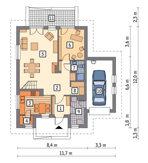 Rzut parteru POW. 90,1 m²