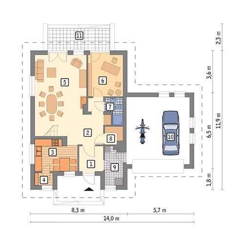 Rzut parteru POW. 103,7 m²