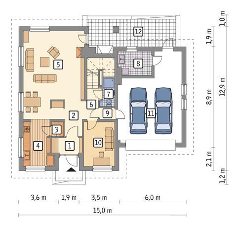 Rzut parteru POW. 121,1 m²