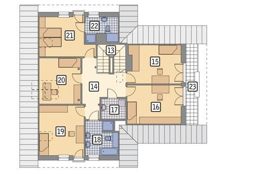 Rzut poddasza POW. 117,4 m²