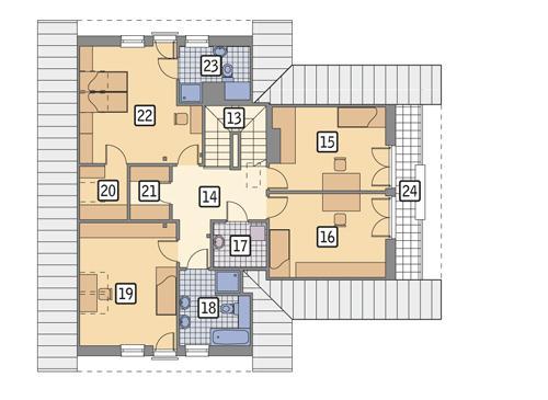 Rzut poddasza: wariant 1 POW. 117,1 m²
