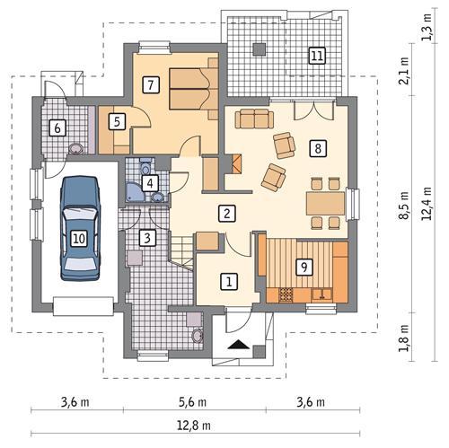 Rzut parteru POW. 96,1 m²