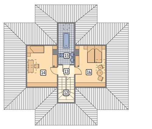 Rzut poddasza POW. 48,3 m²