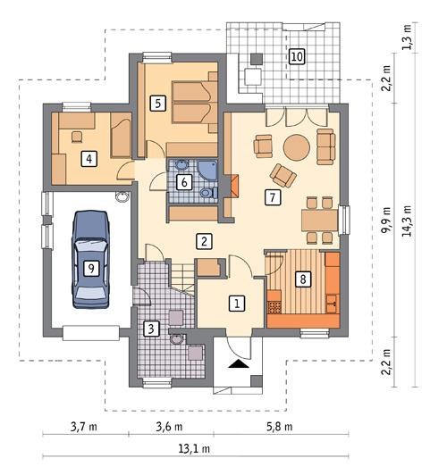 Rzut parteru POW. 110,6 m²