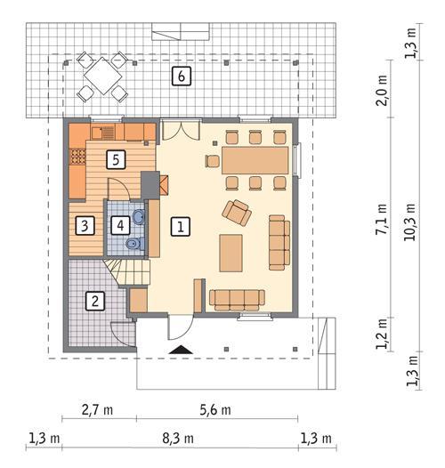 Rzut parteru POW. 50,2 m²