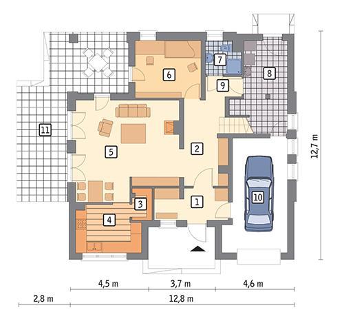 Rzut parteru POW. 108,3 m²