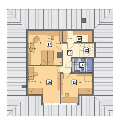 Rzut poddasza POW. 77,4 m²