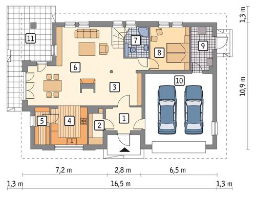 Rzut parteru POW. 131,5 m²