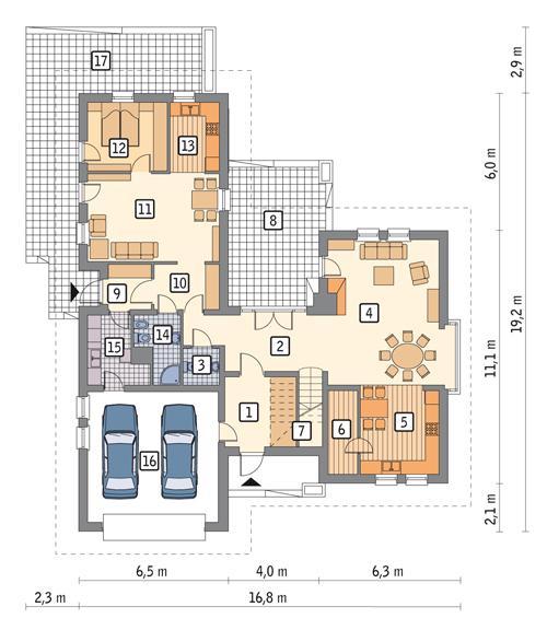 Rzut parteru POW. 164,2 m²