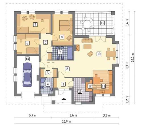 Rzut parteru POW. 141,8 m²