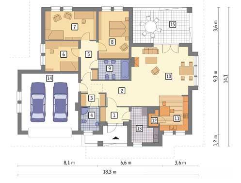 Rzut parteru POW. 155,1 m²