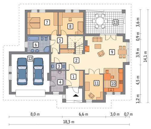 Rzut parteru POW. 150,6 m²