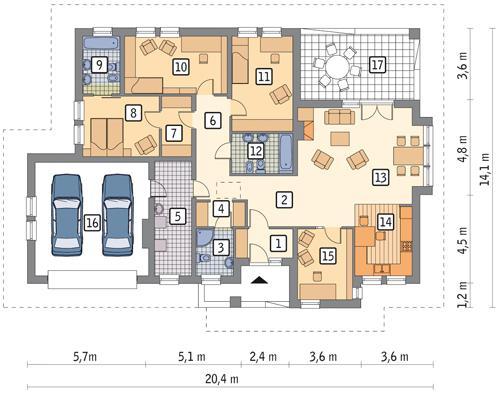 Rzut parteru POW. 177,8 m²