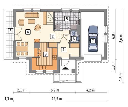 Rzut parteru POW. 69,8 m²