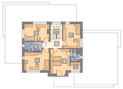 Rzut piętra: wersja podstawowa POW. 79,8 m²