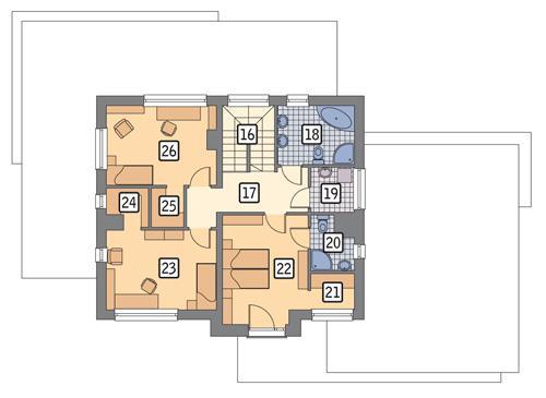 Rzut piętra: wariant POW. 79,1 m²
