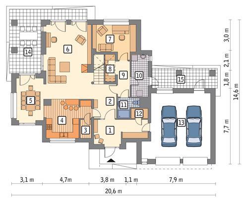 Rzut parteru POW. 153,5 m²