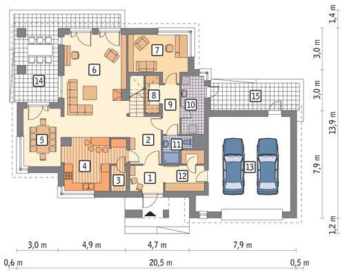 Rzut parteru POW. 153,3 m²