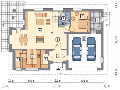 Rzut parteru POW. 129,2 m²